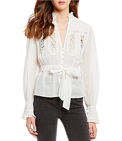 Free People Sweet Memories Woven V-Neck Poet Sleeve Tie Waist Button Front Top