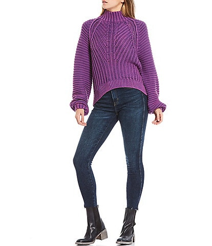 Free People Sweetheart Long Balloon Sleeve Mock Neck Sweater