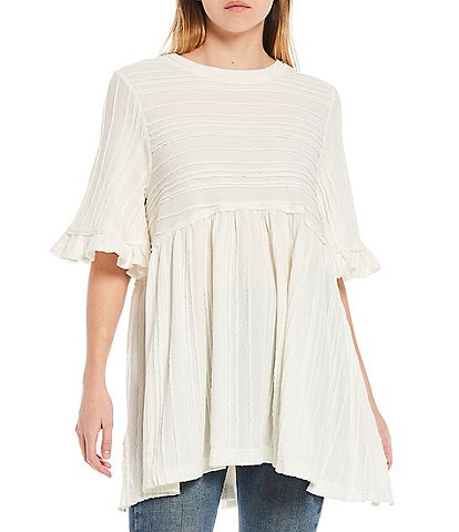 Free People Take A Spin Ruffle Sleeve Pleated Babydoll Tunic