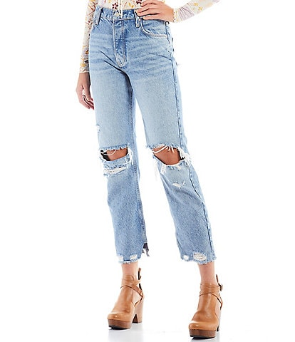 Free People Tapered Baggy Boyfriend Distressed High Rise Jeans