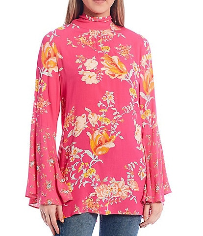 Free People Tate Floral Print Mock Neck Bell Sleeve Tunic