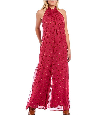 Free People The Edge Of Love High Neck Wide Leg Jumpsuit