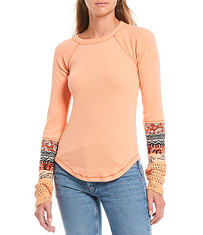 Free People The Mix Cuff Long Sleeve Knit Top
