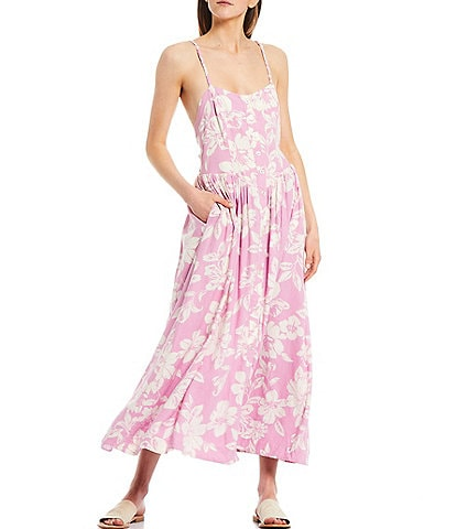 Free People The Perfect Square Neck Sleeveless Floral Midi Sundress