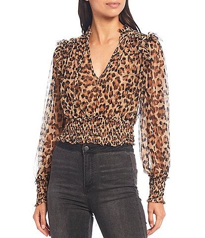 Free People Twyla Leopard Print V-Neck Long Sleeve Smocked Crop Blouse