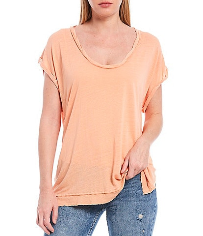 Free People Under The Sun Scoop Neck Short Sleeve Side Slit Linen Blend Tee