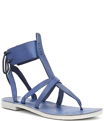 Free People Vacation Day Leather Wrap Sandals
