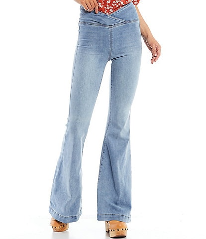 Free People Venice Beach Stretch Denim Flare Pull-On Jeans