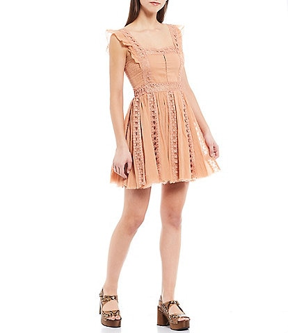Free People Verona Crochet Flutter Strap A-Line Mini Dress