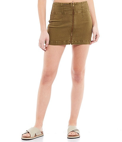 Free People Virgo Zip Front Mini Skirt