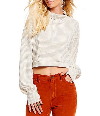 Free People Cropped Waffle Knit Turtleneck Sweater