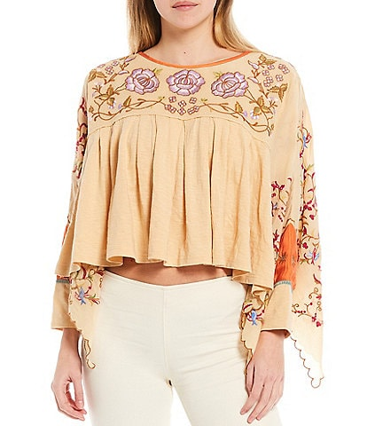 Free People Waiting On A Sunny Day Floral Print Dolman Sleeve Open-Back Detail Top
