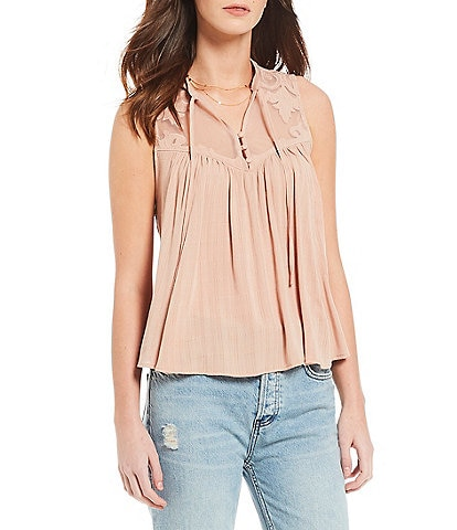 Free People Western Romance Mesh Applique Western Top