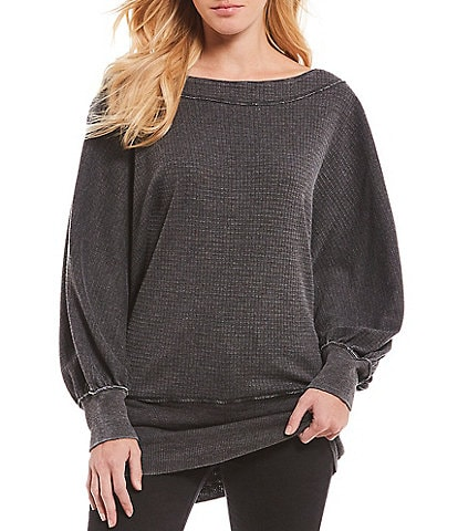 Free People Willow Boat Neck Bishop Sleeve Banded Hem Thermal Knit Tee