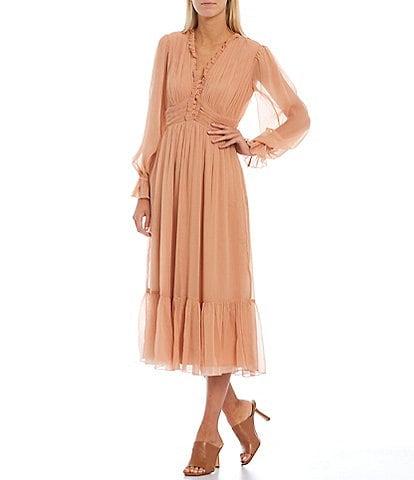French Connection Alita Pleated Detail V-Neck Empire Waist Long Blouson Sleeve Midi Dress