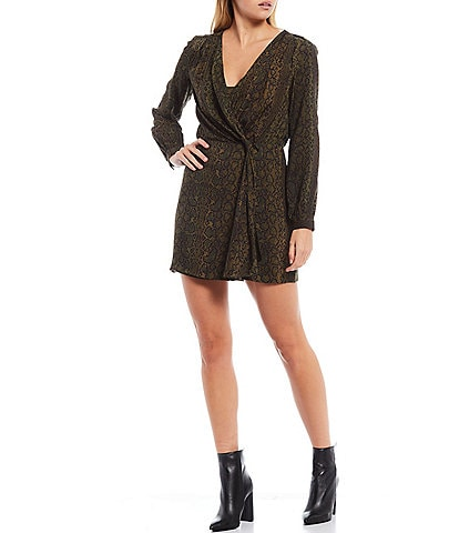 French Connection Ariel Drape Knot Long Sleeve V-Neck Snakeskin Print Dress