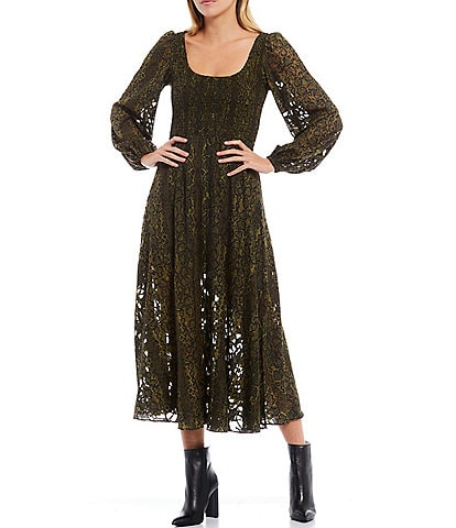 French Connection Aury Square Neck Long Sleeve Smock Midi Dress