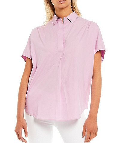 French Connection Cele Rhodes Stand Collar Short Sleeves Top