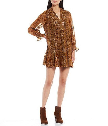 French Connection Desta Long Sleeve Snakeskin Print Baby Doll Dress