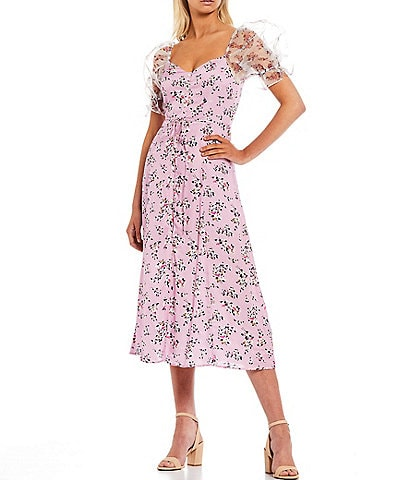 French Connection Elita River Daisy Drape Sweetheart Neck Puff Sleeve Button Front Dress