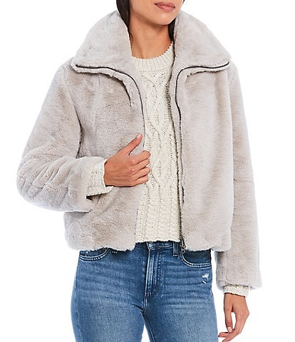 French Connection Faux Fur Zip Front Short Bomber Jacket