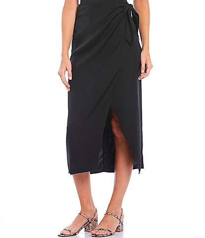 French Connection Gabina Drape Faux Wrap Midi Skirt