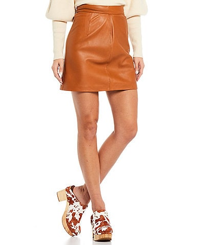 French Connection Genuine Leather High Rise Abri Mini Skirt