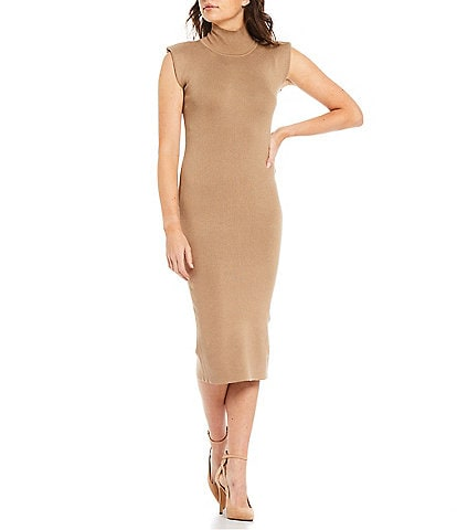 French Connection High Turtleneck Fitted Shoulder Pad Sleeveless Midi Sweater Dress