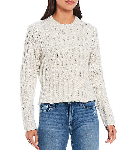 French Connection Joetta Cable Knit Cropped Sweater
