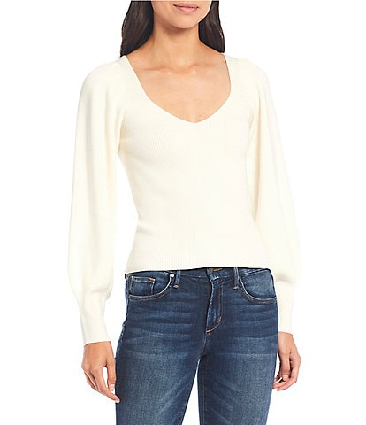 French Connection Joss Knit Sweetheart Neck Long Balloon Sleeve Sweater