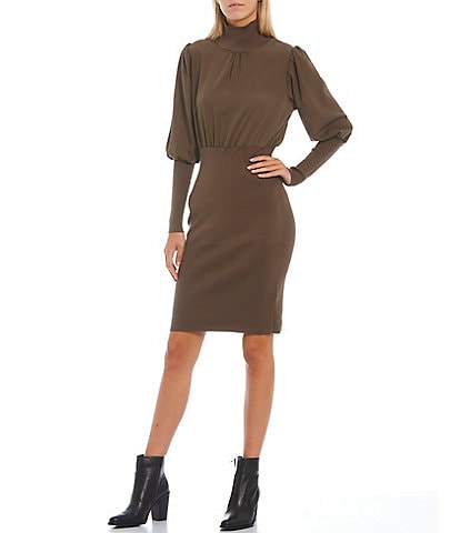 French Connection Krista High Neck Long Sleeve Blouson Bodycon Mixed Media Sweater Dress