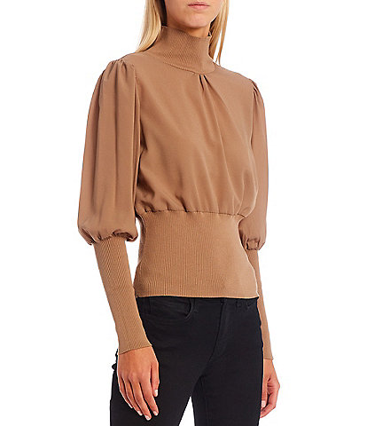 French Connection Krista Turtleneck Long Puff Sleeve Mixed Media Fitted Statement Sweater