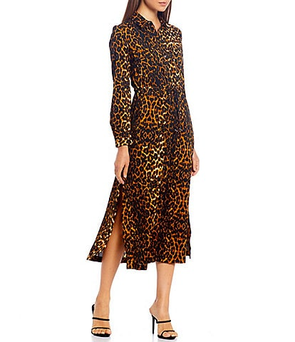 French Connection Leopard Print Side Slits Tie Waist Midi Shirt Dress