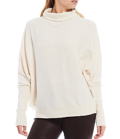 French Connection Marie Mock Neck Dolman Sleeve Slouchy Lightweight Sweater