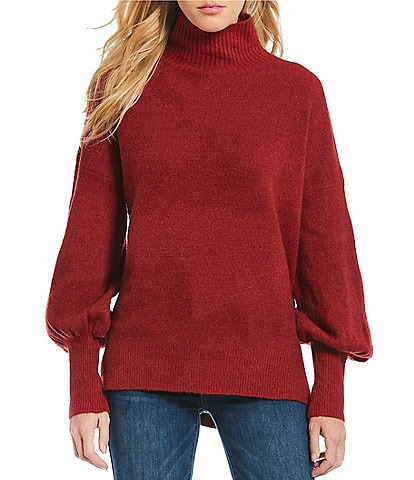 French Connection Orla Flossy Bishop Sleeve Mock Neck Sweater