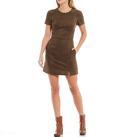 French Connection Patty Short Sleeve Faux Suede A-Line Dress with Pockets
