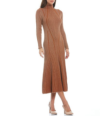 French Connection Mari Ribbed Knit Long Sleeve Turtleneck Sweater Dress