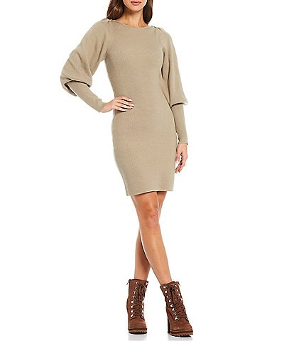 French Connection Joss Round Neck Long Puff Sleeve Bodycon Knit Sweater Dress