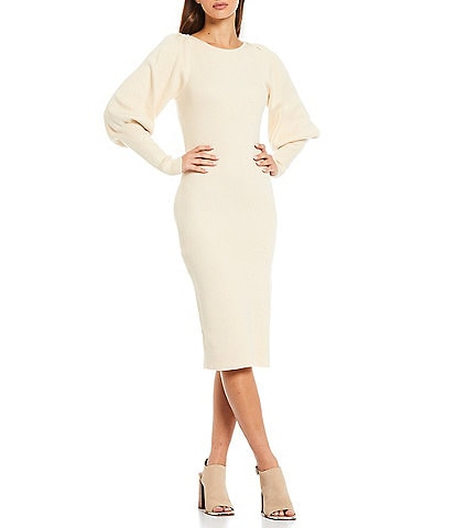 French Connection Joss Round Neck Long Puff Sleeve Knit Bodycon Midi Sweater Dress