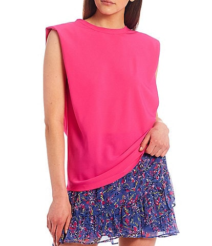 French Connection Shoulder Pad Round Neck Knit Tank