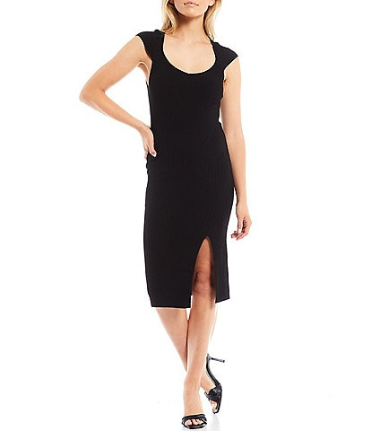 French Connection Simona Scoop Neck Cap Sleeve Front Slit Bodycon Knit Dress