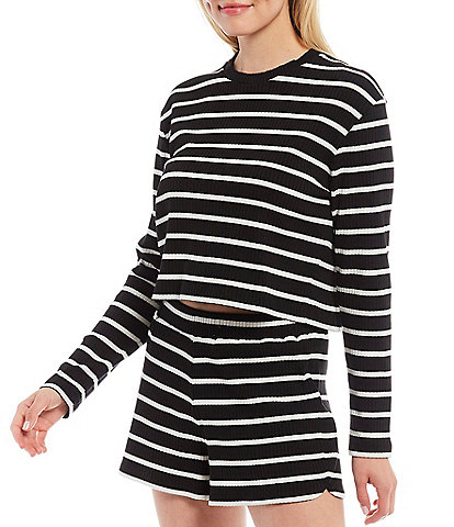 French Connection Tommy Stripe Rib Knit Crew Neck Long Sleeve Cropped Tee