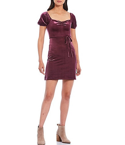 French Connection Yule Sweetheart Neck Puff Sleeve Tie Waist Velvet Jersey Dress