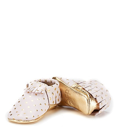 Freshly Picked Girls' Soft Soled Metallic Leather Polka Dot Moccasin Crib Shoe