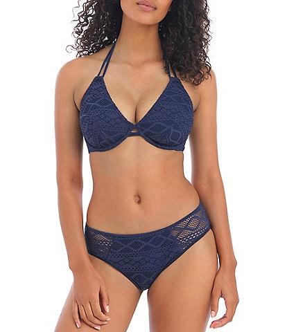 Freya Sundance Underwire Bra Sized Halter Bikini Swim Top & Sheer Side Hipster Bikini Swim Bottom