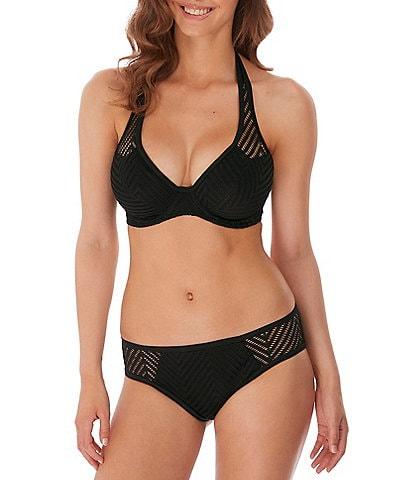 Freya Urban Underwire Bra Sized Halter Bikini Swim Top & Sheer Side Bikini Brief Swim Bottom