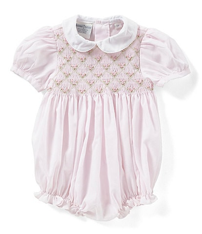 Friedknit Creations Baby Girl 3-9 Months Floral Smock Romper