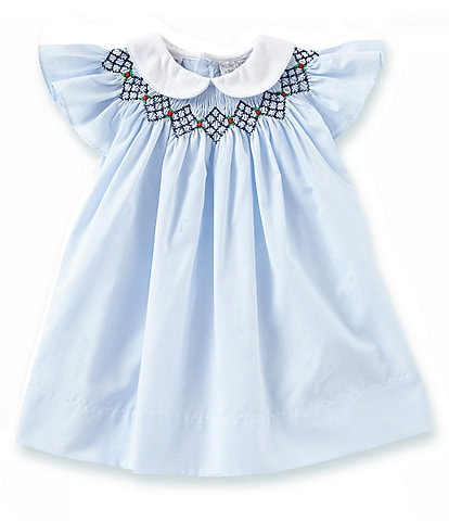 Friedknit Creations Baby Girls 18-24 Months Argyle Smock Dress