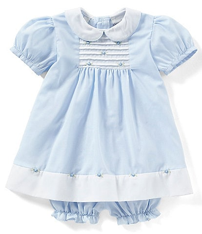 Friedknit Creations Baby Girls 3-9 Months Rosette Pintuck Dress