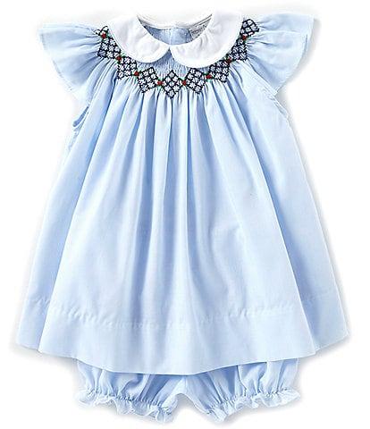 Friedknit Creations Baby Girls 3-9 Months Argyle Smock Dress